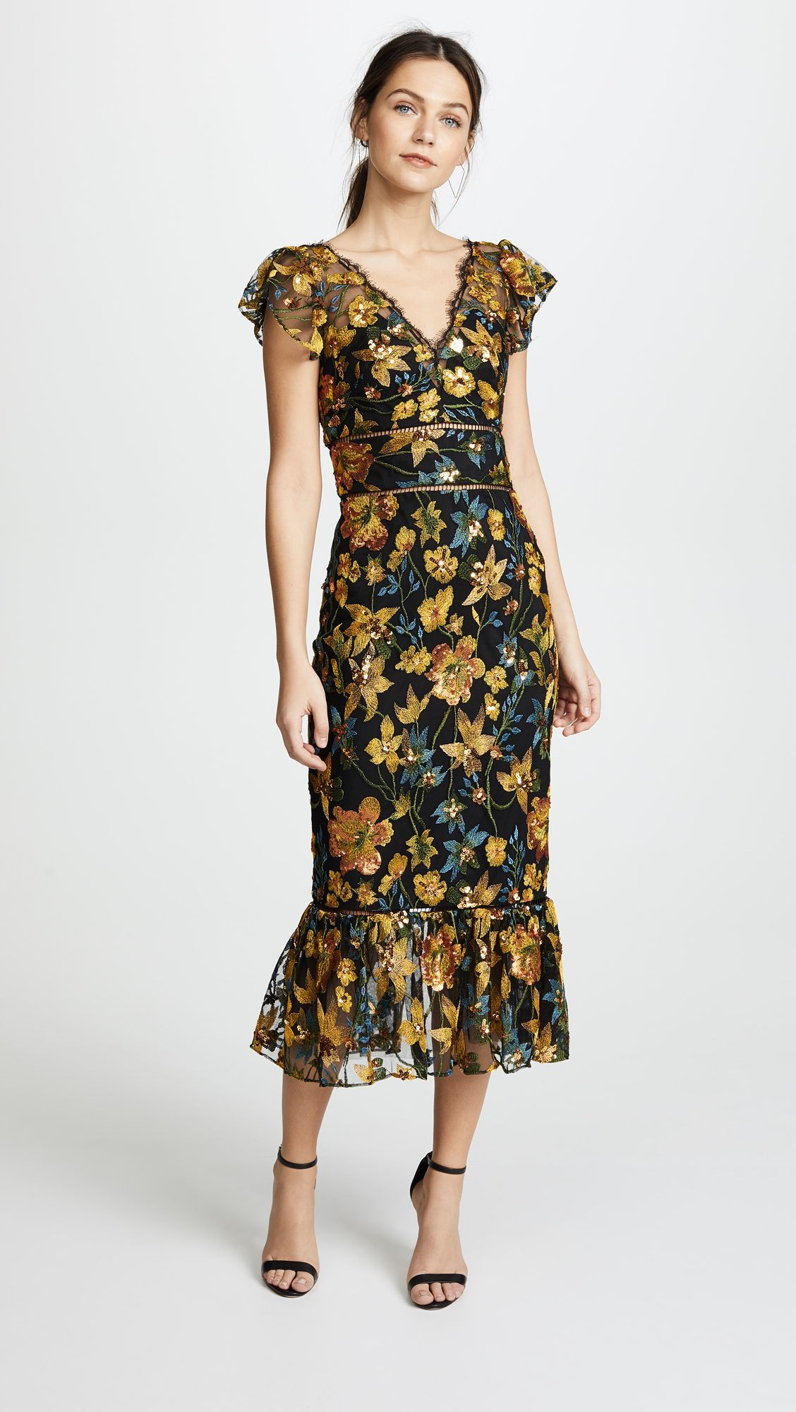 f9f92907 Marchesa Notte Embroidered Cocktail Dress with Flutter Sleeves   SHOPBOP  SAVE UP TO 25% Use Code: GOBIG18 #Cocktaildresses