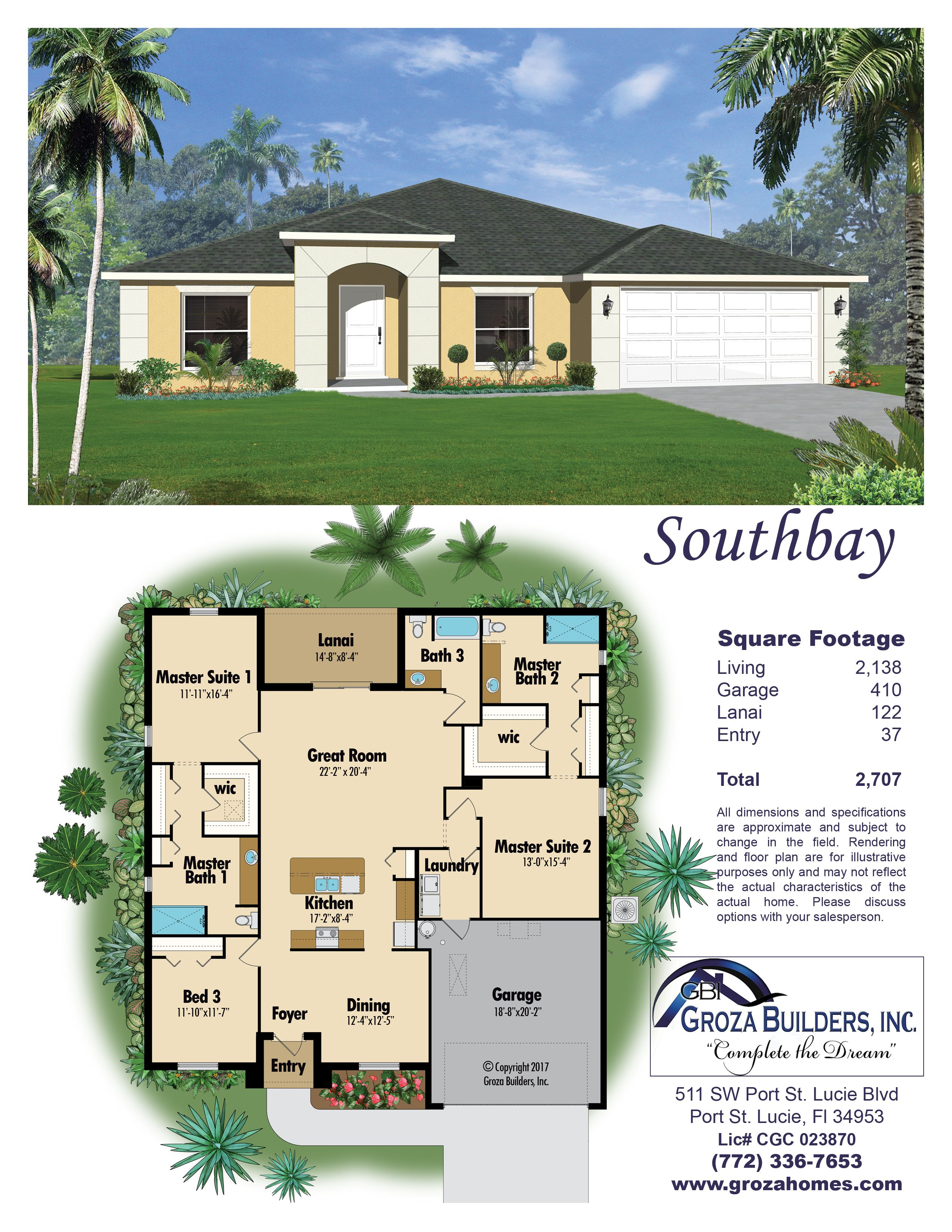 Awwweee Yeahh This Southbay Plan Is Incredible 772 336 7653 Great Rooms Master Suite Floor Plans