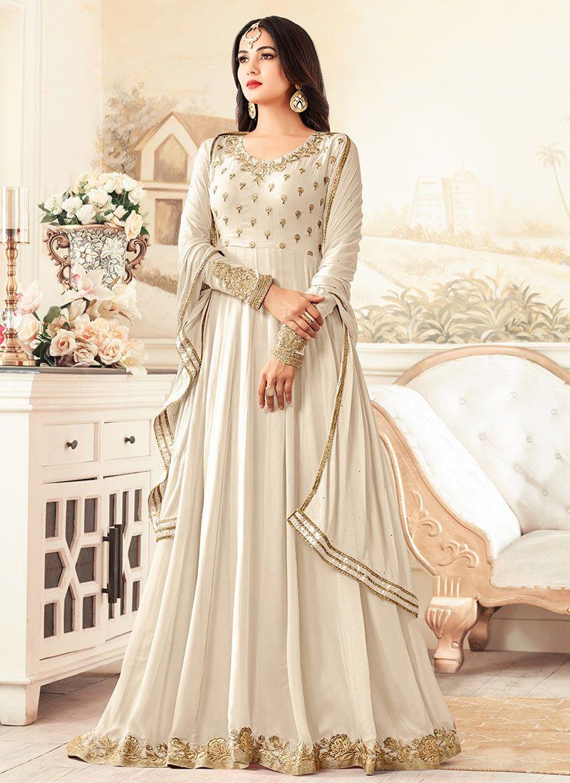 84de5c570fe Sonal chauhan rangoli off white party wear anarkali 26003