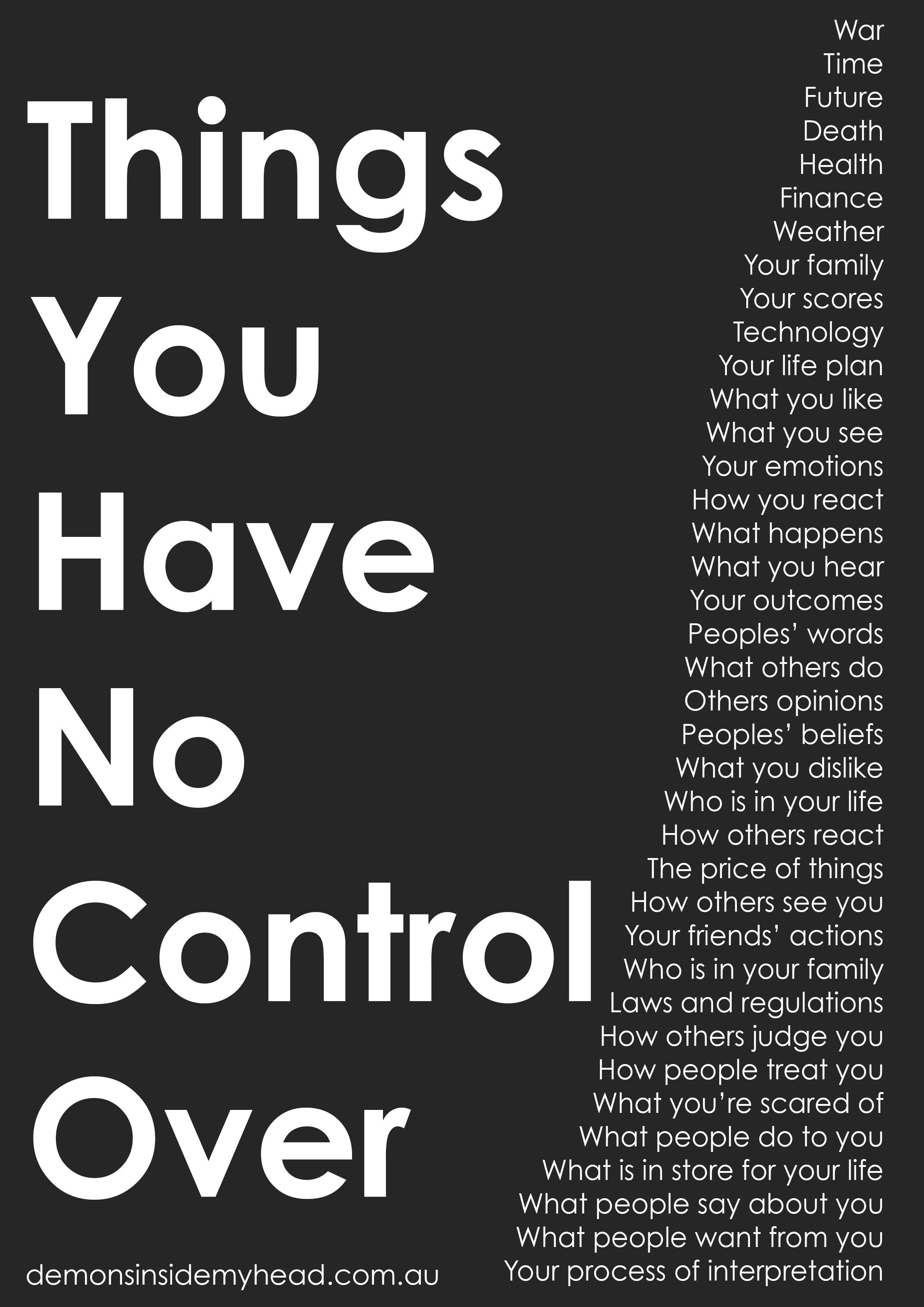 Things You Have No Control Over
