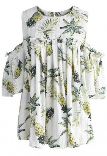 5ef51eb6ab3df1 Keep it all short and sweet with this cold-shoulder top that has pineapples  dancing