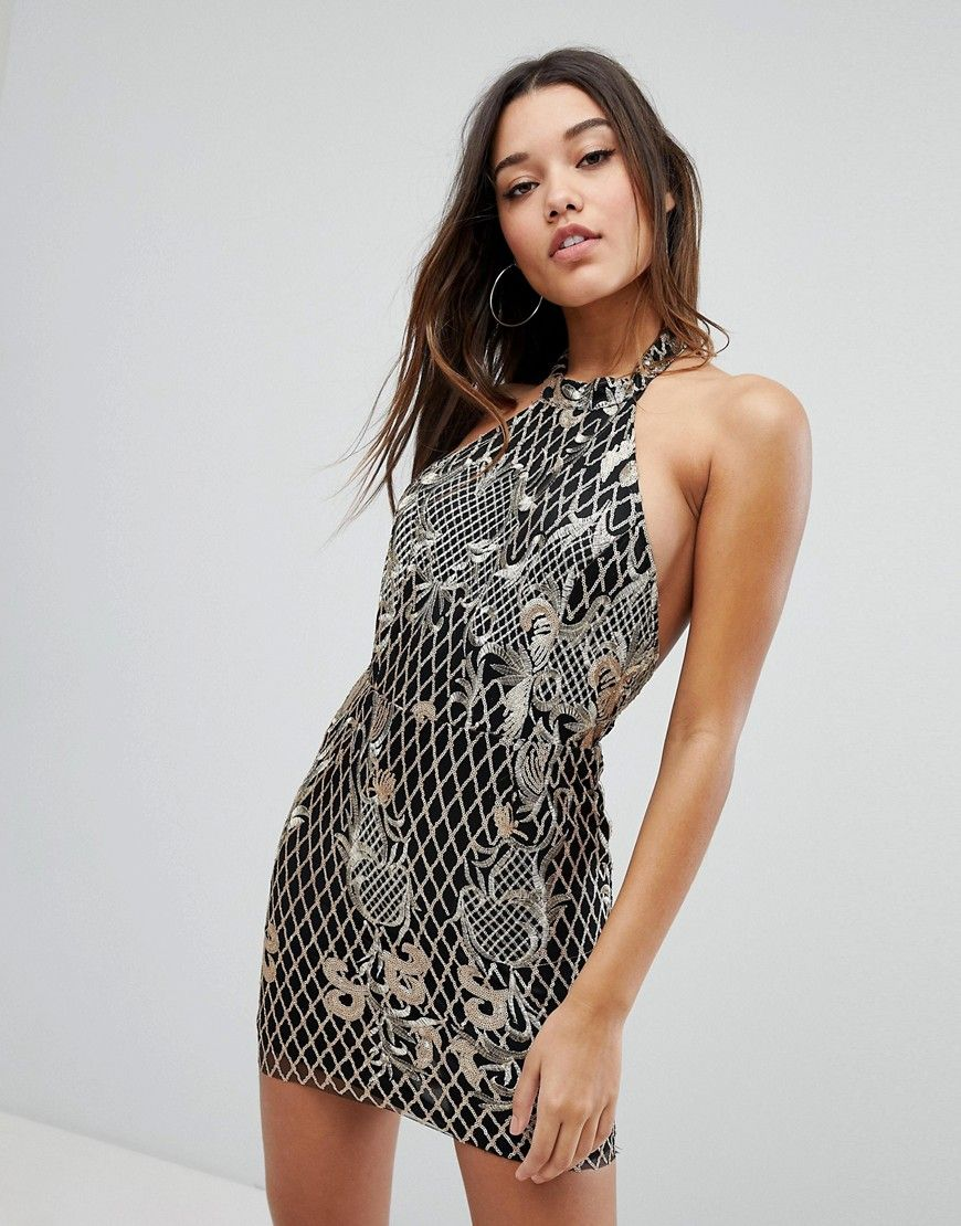 35a3864b83 Missguided Embroidered Sequin Halter Neck Mini Dress in 2019 | sexy ...