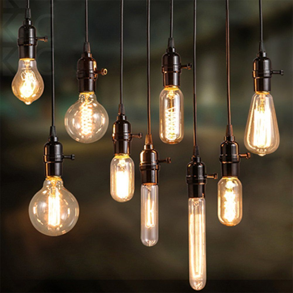 E27 40w 220v ampoules r tro style industriel edison lamp for Lampe suspension ampoule