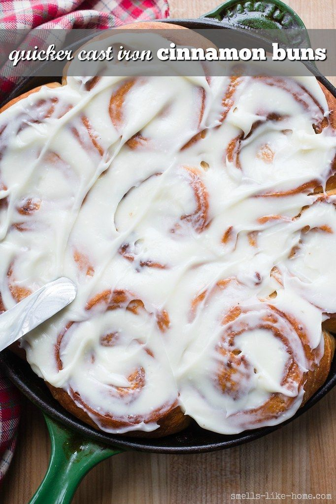 Quicker Cast Iron Cinnamon Buns Quicker Cast Iron Cinnamon Buns- With only 30 minutes to rise and no stand mixer required to make, you now have no excuse not to make these quicker cast iron cinnamon buns every weekend.