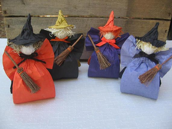 Halloween Witch Decoration / Paper Ribbon Witch / Witch Decor - witch decorations