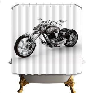 Motorcycle Themed Shower Curtains