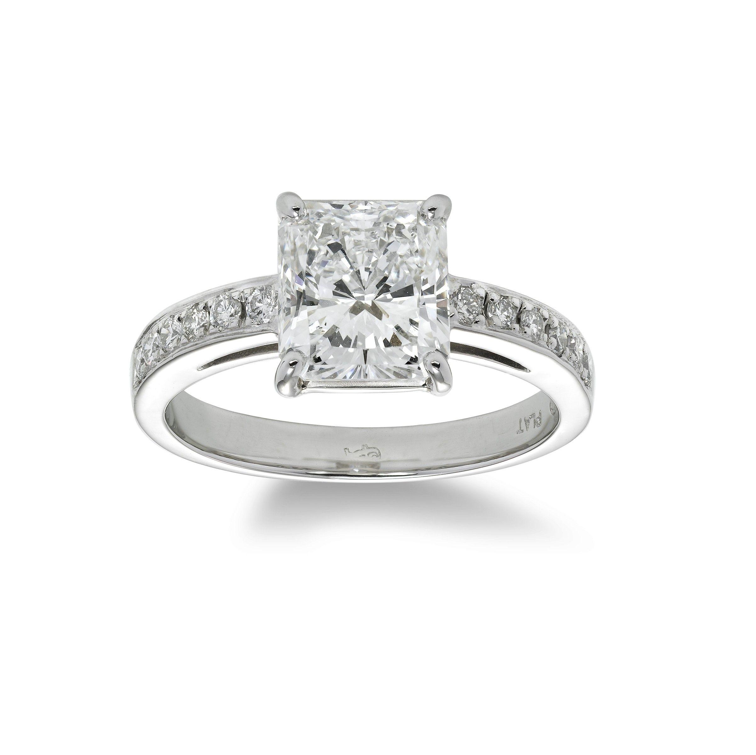 Radiant cut diamond ring carats platinum white wonderland