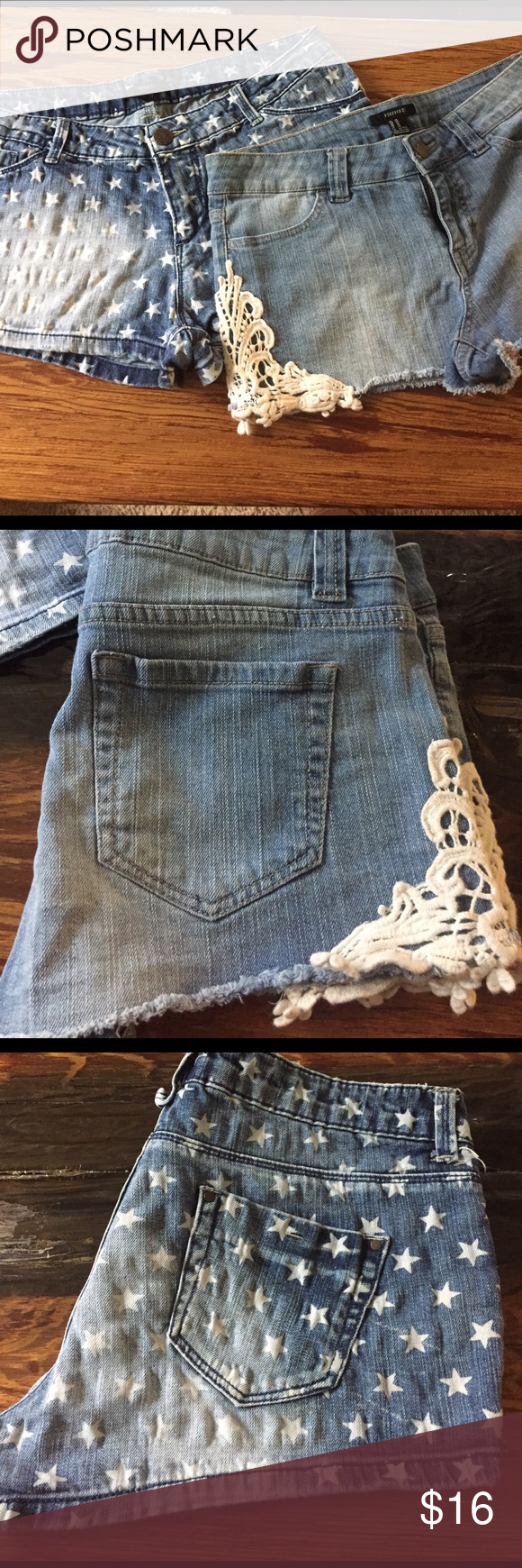 Bundle! Forever 21 jean shorts. Bundle! Forever 21 jean shorts. Light wash with lace embellished sides. Dark wash with white stars.  Willing to sell separately as well. Make me an offer! Forever 21 Shorts Jean Shorts