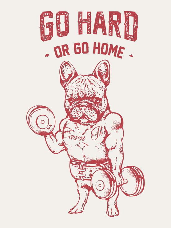 Go Hard Or Go Home Frenchie Art Print Pink Dog Iphone