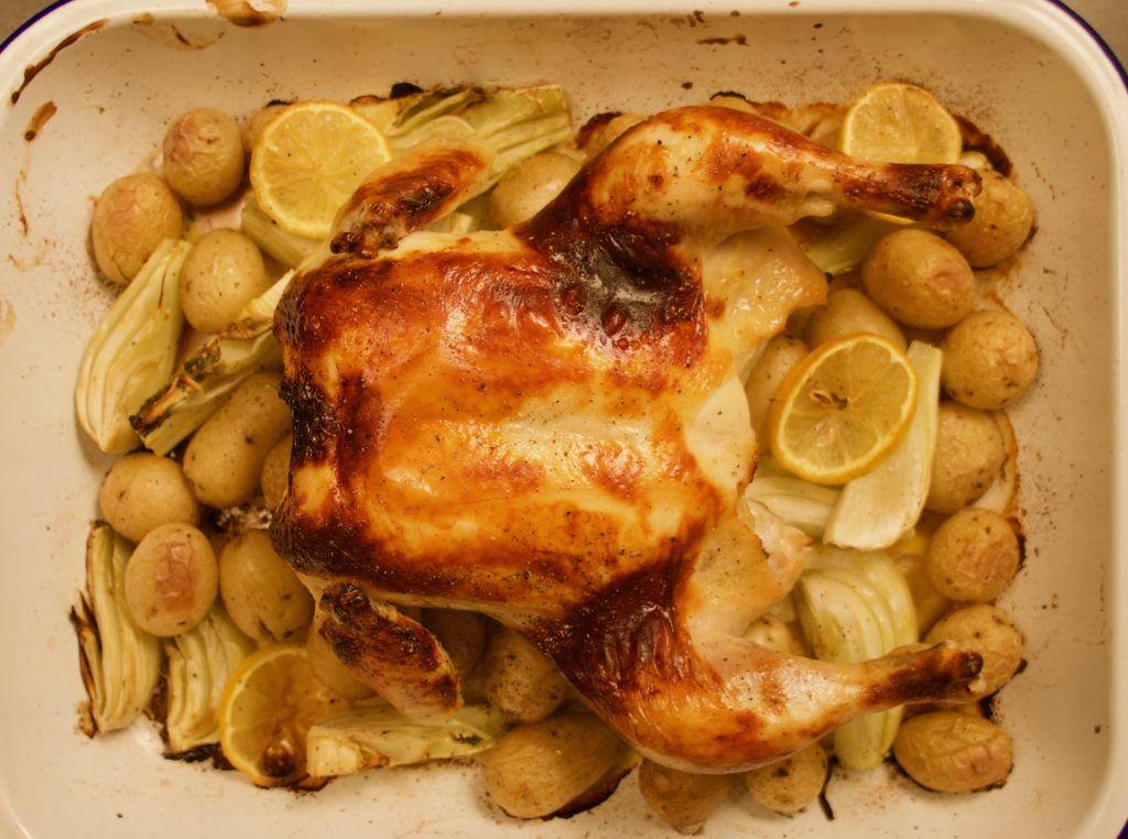 Buttermilk Marinated Roast Chicken With Fennel And Potatoes Recipe Roast Chicken Chicken Weekend Meals