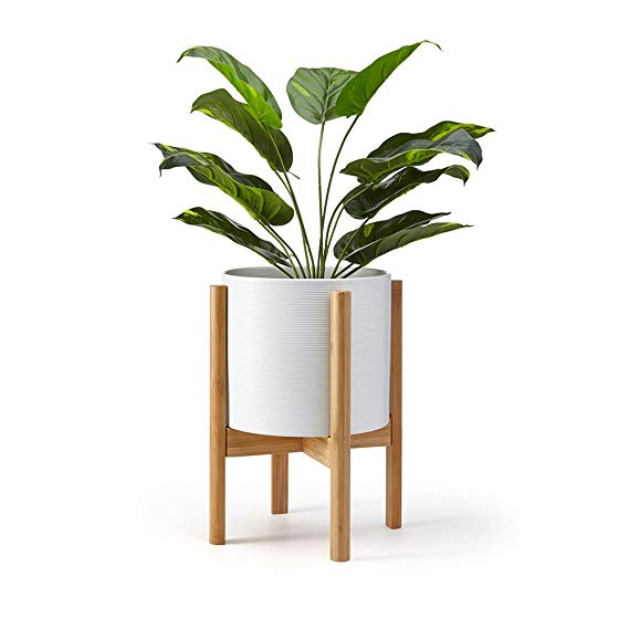 Amazon Com Lana Mae Adjustable Bamboo Plant Stand Modern Wooden Home Decor Piece For Indoor Use Only Plant And Pot In 2020 Wood Plant Stand Decor Plant Stand Indoor