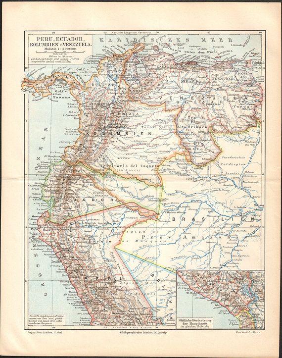 1897 Peru, Ecuador, Colombia and Venezuela Map, Antique Print - best of world map japan ecuador