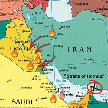 map iraq iran irans shia influence has spilled across the border into southern iraq