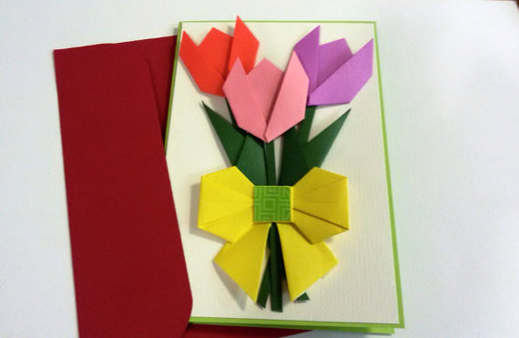 Handmade origami paper flower card mothers day tulip blank origami handmade flower mothers day card tulips card by jollycards mightylinksfo