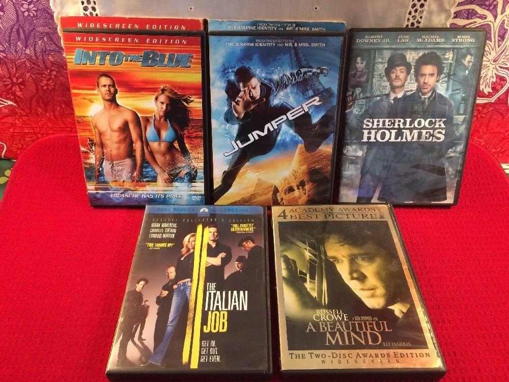 5 DVD Films Into The Blue Jumper Sherlock Holmes Italian Job A Beautiful Mind