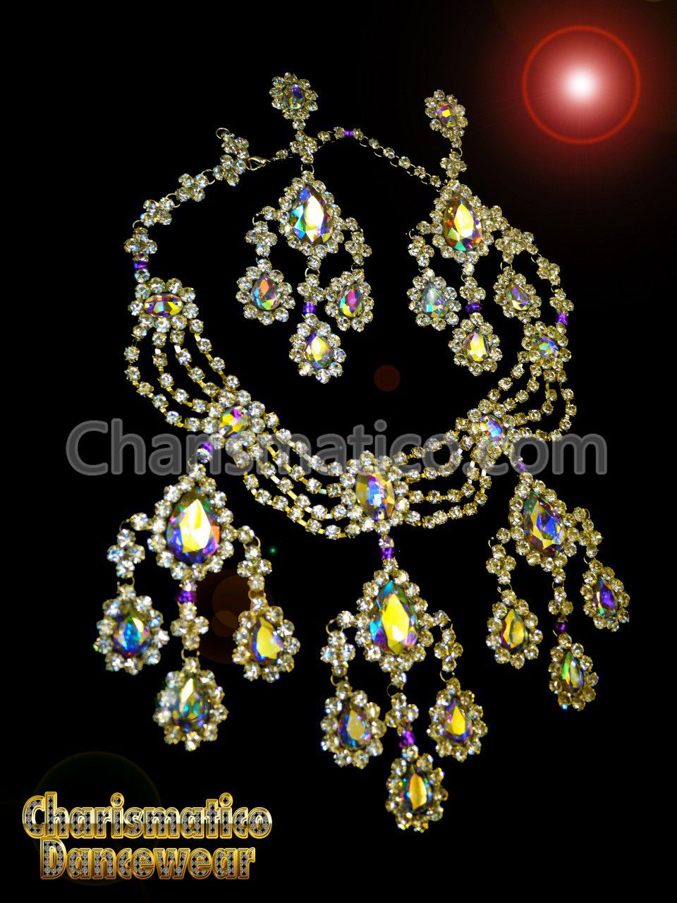 Divine Divas Pageant Jewelry Necklace And Earrings Ab