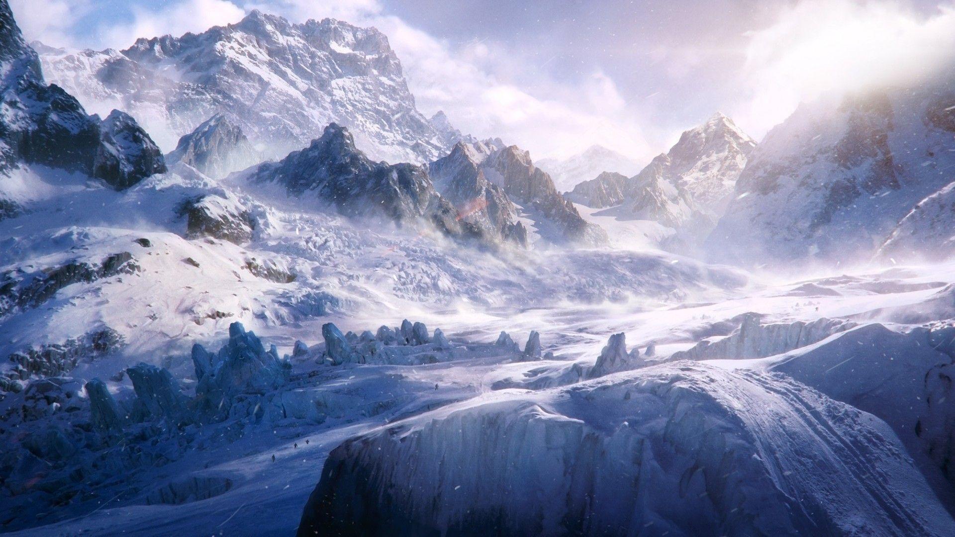 snow trekking hd landscape desktop wallpaper wallpapercow com