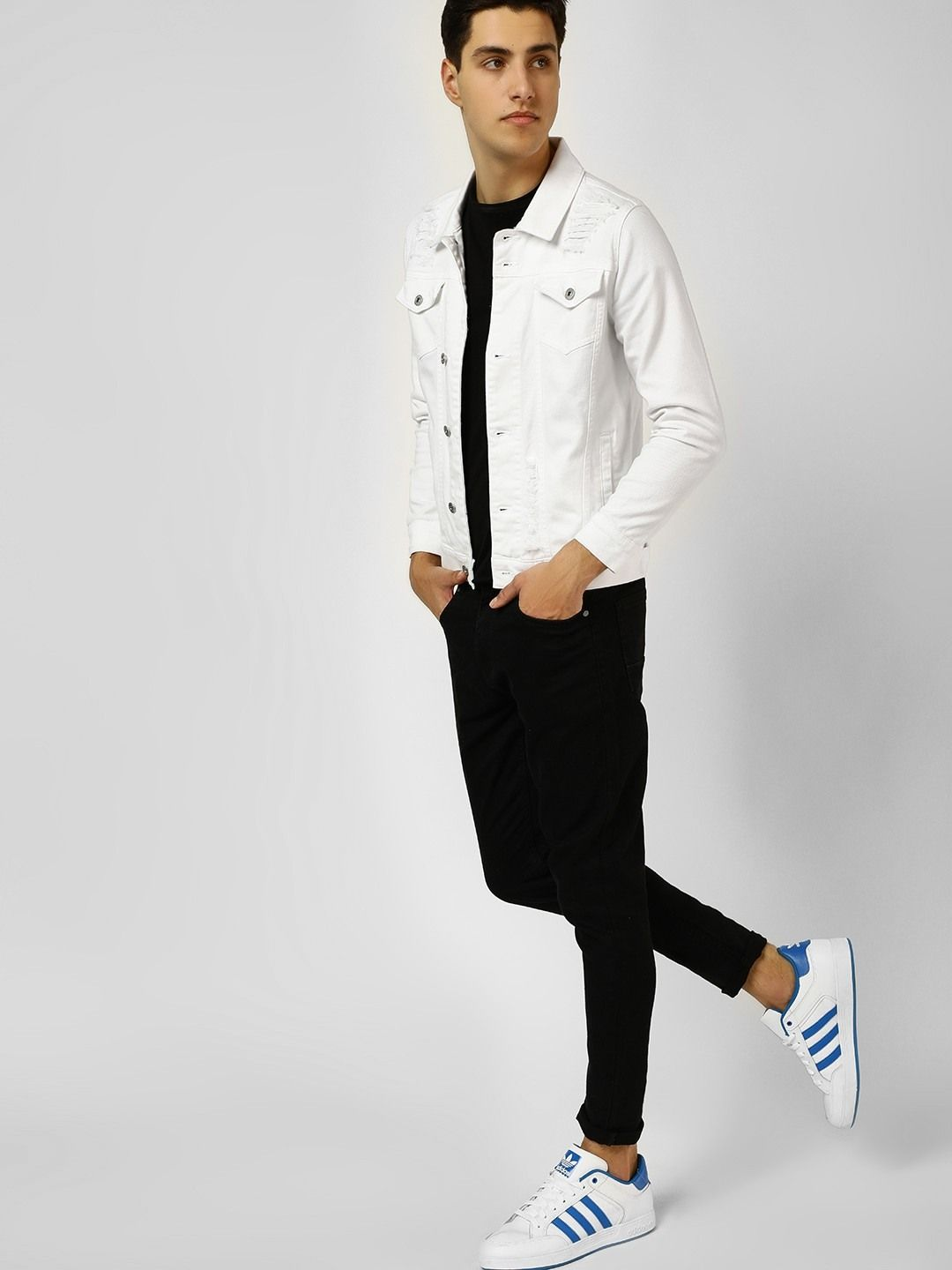 4e817ccd0bf034 Buy Blue Saint Off-White Overdyed Distressed Jacket for Men Online in India