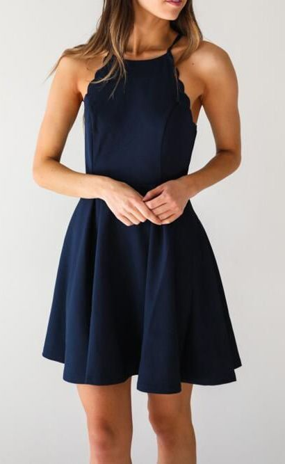 03a3049d9e Simple A-Line Scoop Sleeveless Dark Blue Satin Short Homecoming Dress With  Pleats on Luulla