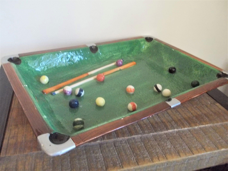 Large 15 X 10 1 2 Vintage Pool Table Billiards Ceramic Ashtray By Objetluv On Etsy Pool Table Billiards Ashtray