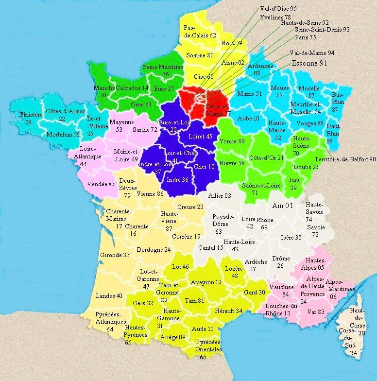 France Départements métropole, avec les 12 régions 2016, La (Corse (France) 2 départements ...