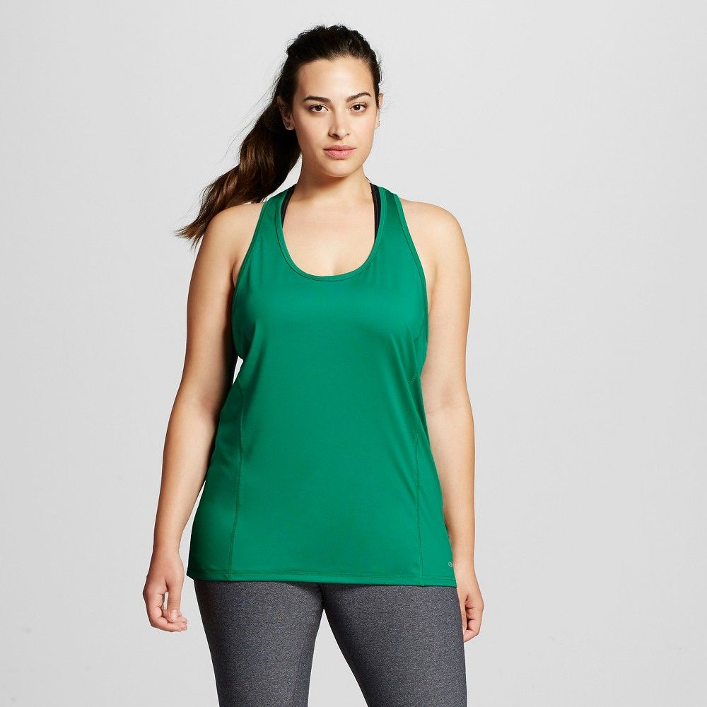64a68d7c6b0 Women s Plus Size Performance Long Tank - Emerald Green 1X - C9 Champion