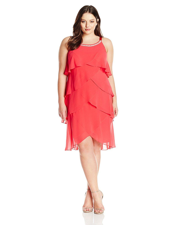 Fashions Womens Plus-Size Multi-Tier Dress S.L