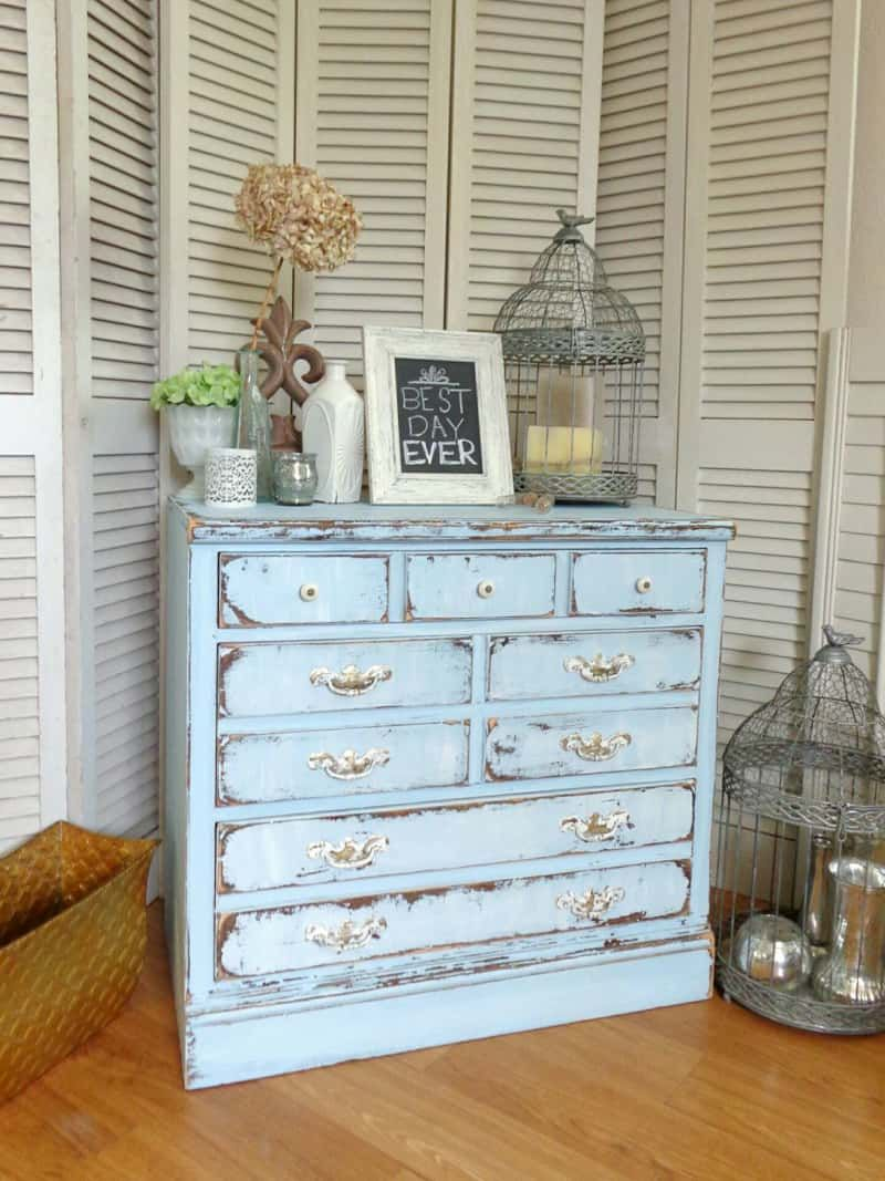Distressed Farmhouse Chic Vintage Baby Blue Ethan Allen Chest Distresseddresser Ethlen Vintagepaintedfurniture