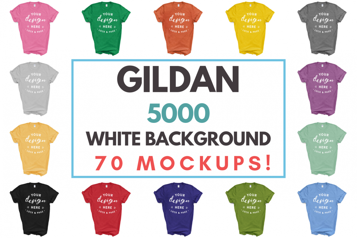 Download Gildan 5000 Unisex T Shirt Mockup Mega Bundle White Backdrop 234625 Mockups Design Bundles Tshirt Mockup Design Mockup Free Mockup