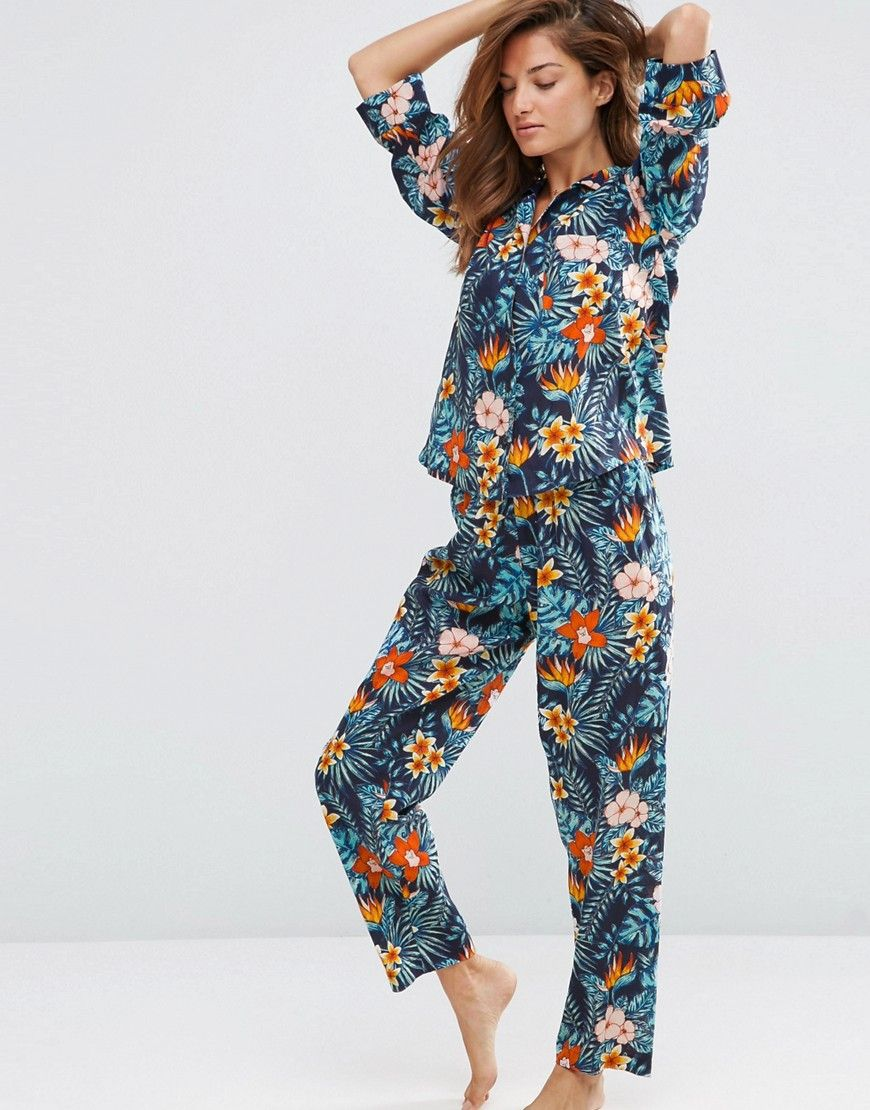 99662c771211 Image 1 of ASOS Tropical Funk Tee  amp  Long Leg Pajama Set Pajama Outfits