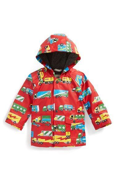 Infant Girl's Hatley 'Big Rig Truck' Print Waterproof Raincoat