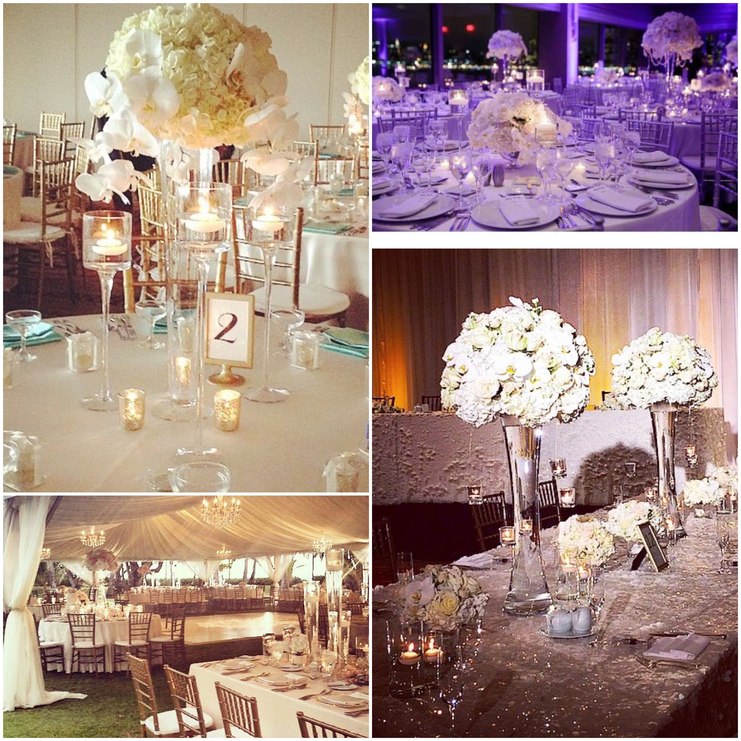 Soft Romantic Elegant Wedding Ideas: More Centerpiece Ideas, Tall, Round, Soft White