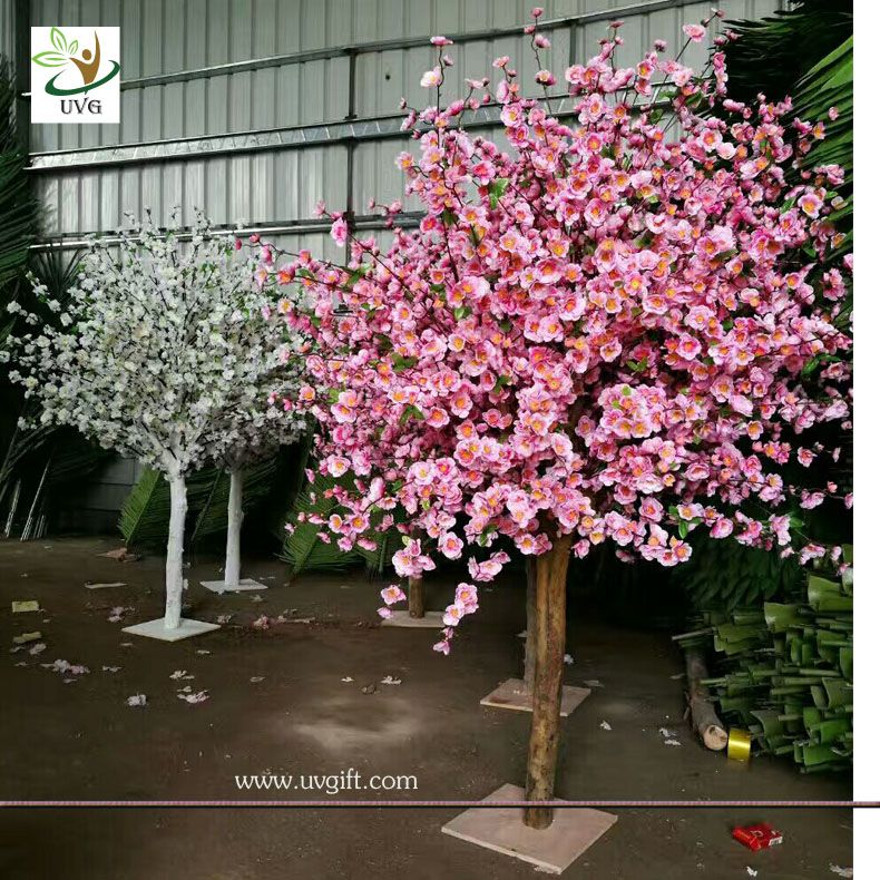 Uvg Wholesale Table Centerpiece Pink Wooden Small Artificial Peach Blossom Trees For Sale Pink Blossom Tree Peach Blossom Tree Artificial Cherry Blossom Tree