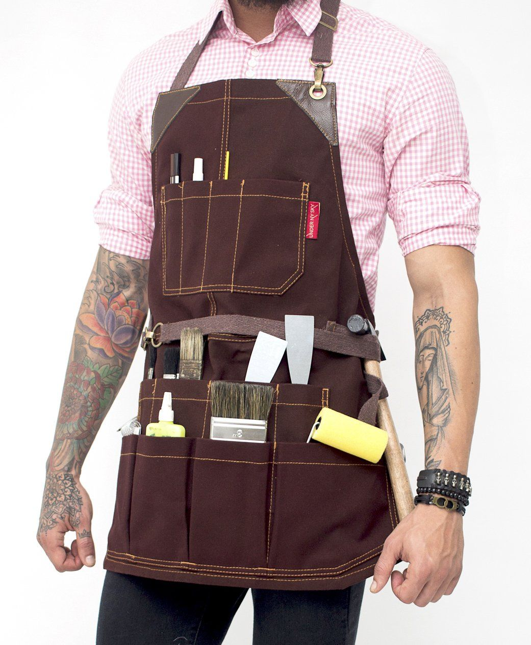 tool apron - brown waxed canvas, leather trim, 12 pockets