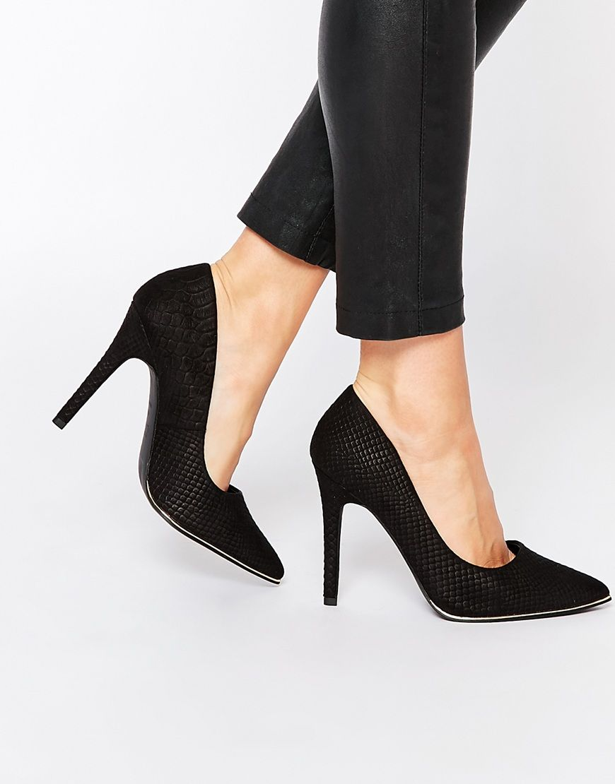 Image 1 of New Look Wide Fit Croc Effect Pointed Court Shoe