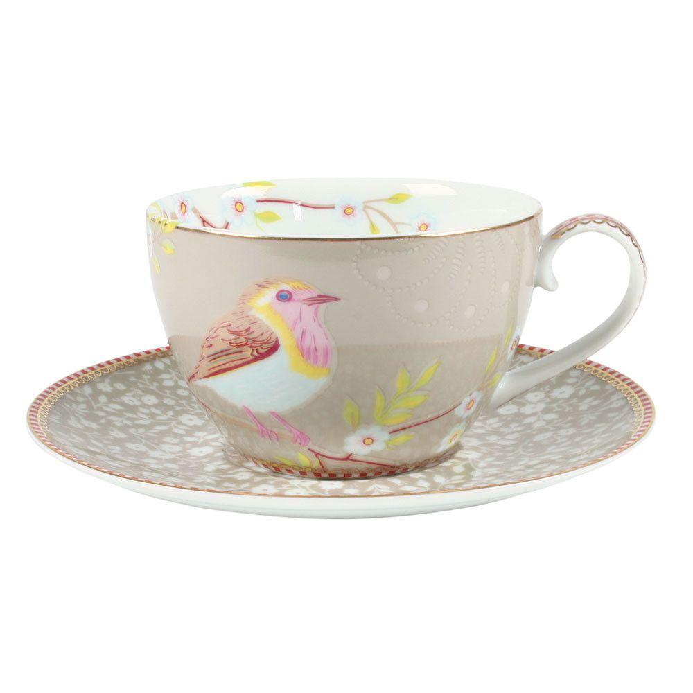 Buy Pip Studio Early Bird Cappuccino Cup & Saucer Khaki