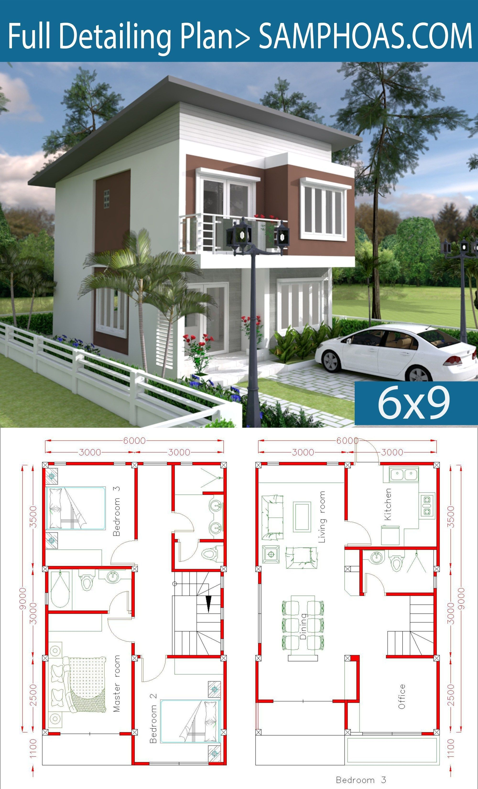 Simple Home Design Plan 6x9m With 3 Bedrooms Simple Home Design Plan 6x9m With 3 Bedrooms Tishia Baker Tishiabaker Simple House Design Simple House House Plans