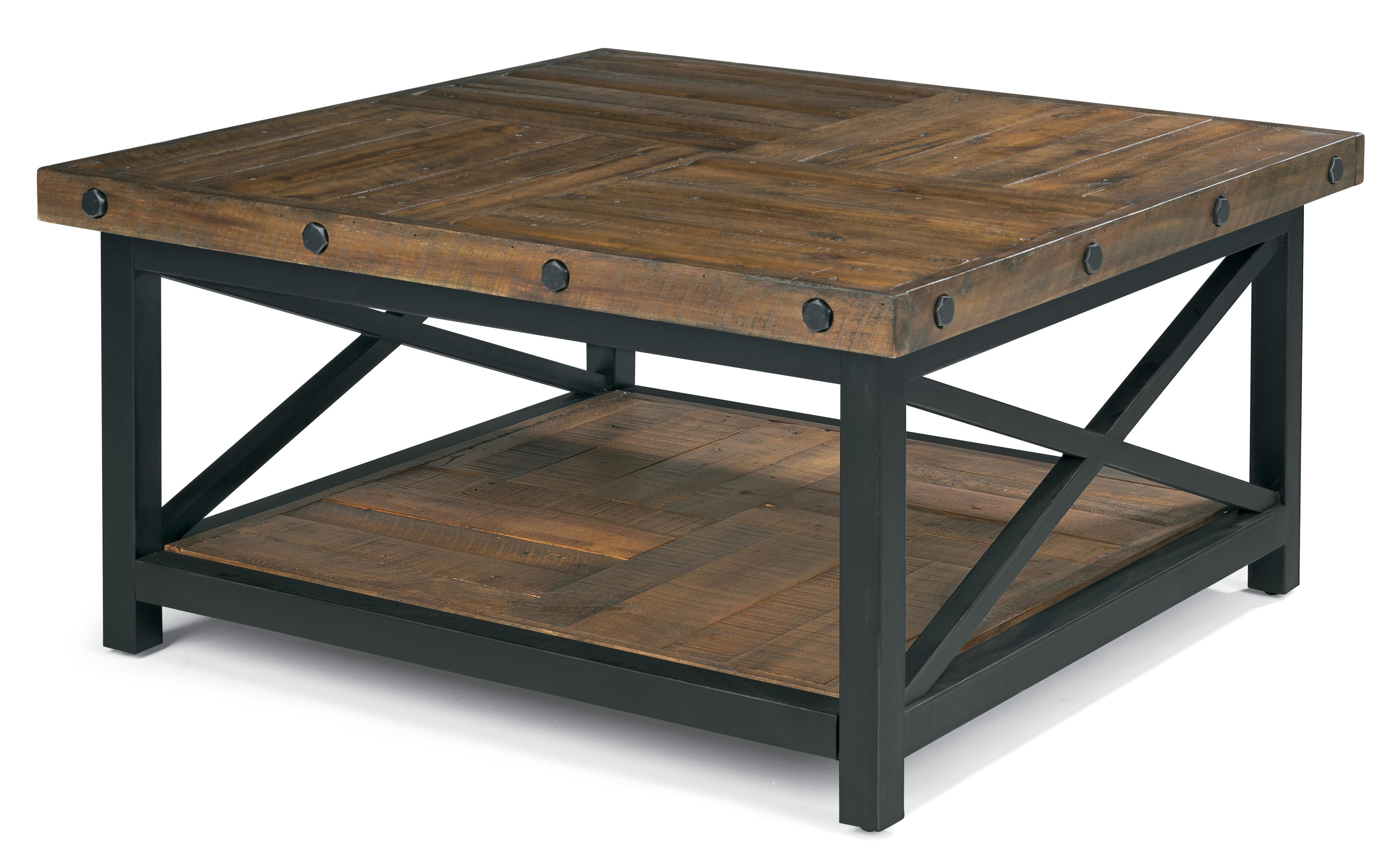 Flexsteel Carpenter Square Tail Table With Metal Base And Wood Plank Top Ahfa Or Coffee Dealer Locator
