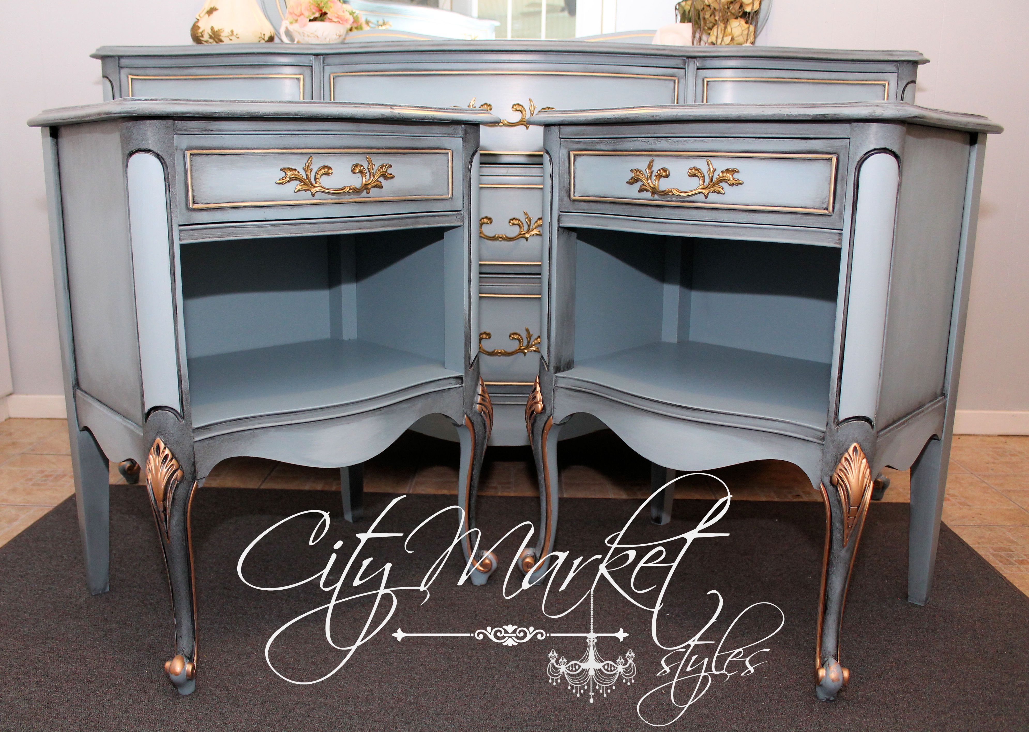 Painted French Provincial End Tables In Stormy Cove With Dark