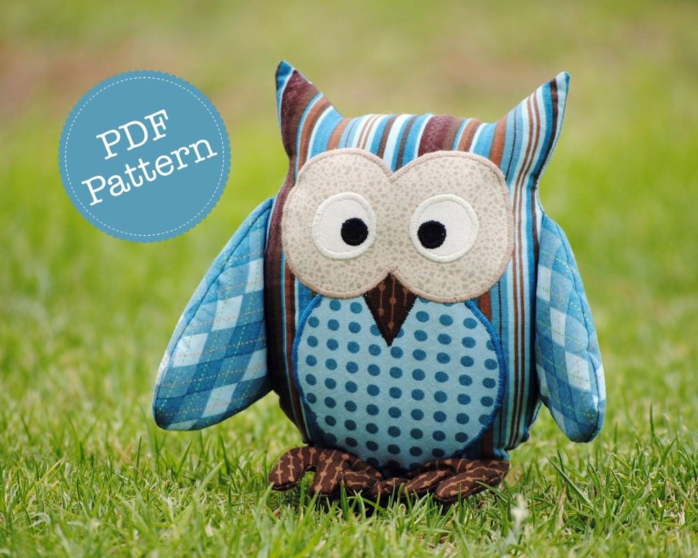 Free Stuffed Animal Pillow Patterns : Owl Softie Pattern. PDF Sewing Pattern for Owl Softie, Cushion, Pillow, Plushie, Nursery Bedding ...