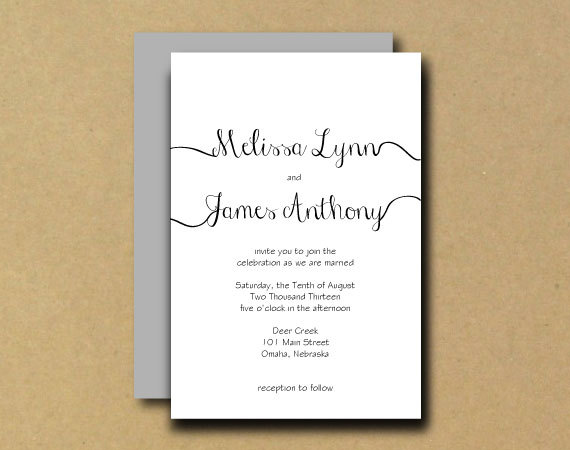 Calligraphy wedding invitations and handwritten modern