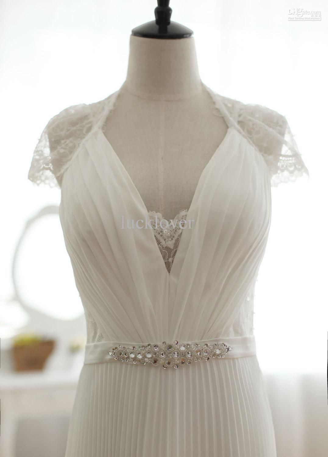 Vintage inspired pleated column wedding dress full lace back tulip