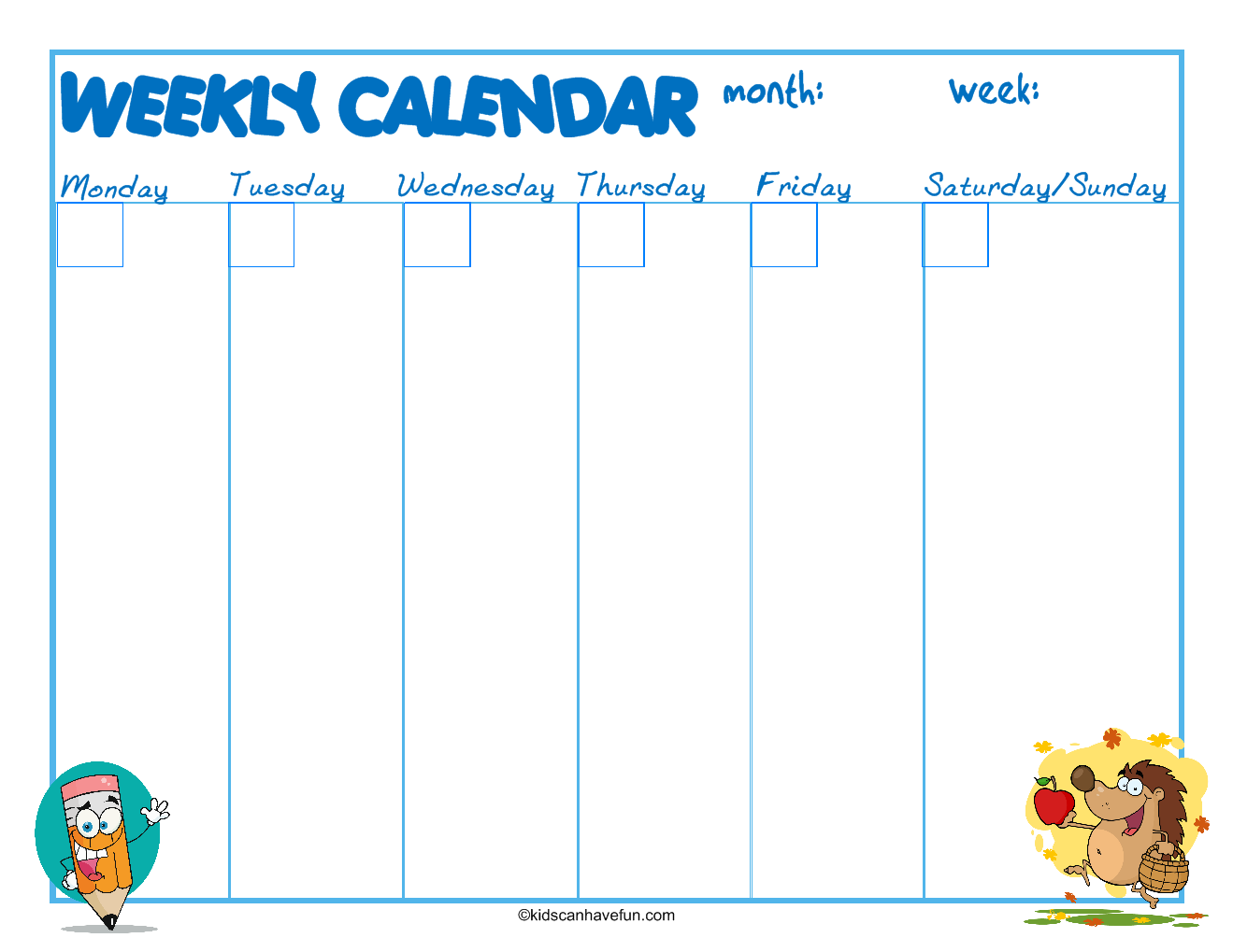 School Weekly Calendar To Record Activities And Homework