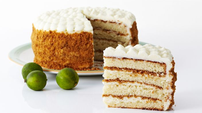 "As much as we love pie, no one ever said, ""Let them eat pie."" With that in mind, we`ve morphed one of our favorite pies into a killer cake, as is the case with this Key Lime Cake Recipe, a moist and delicious cake that has all the flavors of a Key Lime Pie. This Key Lime Cake hits the perfect balance between sweet and tart, with luscious layers (4 in all!) encased in key lime cream cheese frosting and coated in a graham cracker crumble.  This one really takes the cake!"