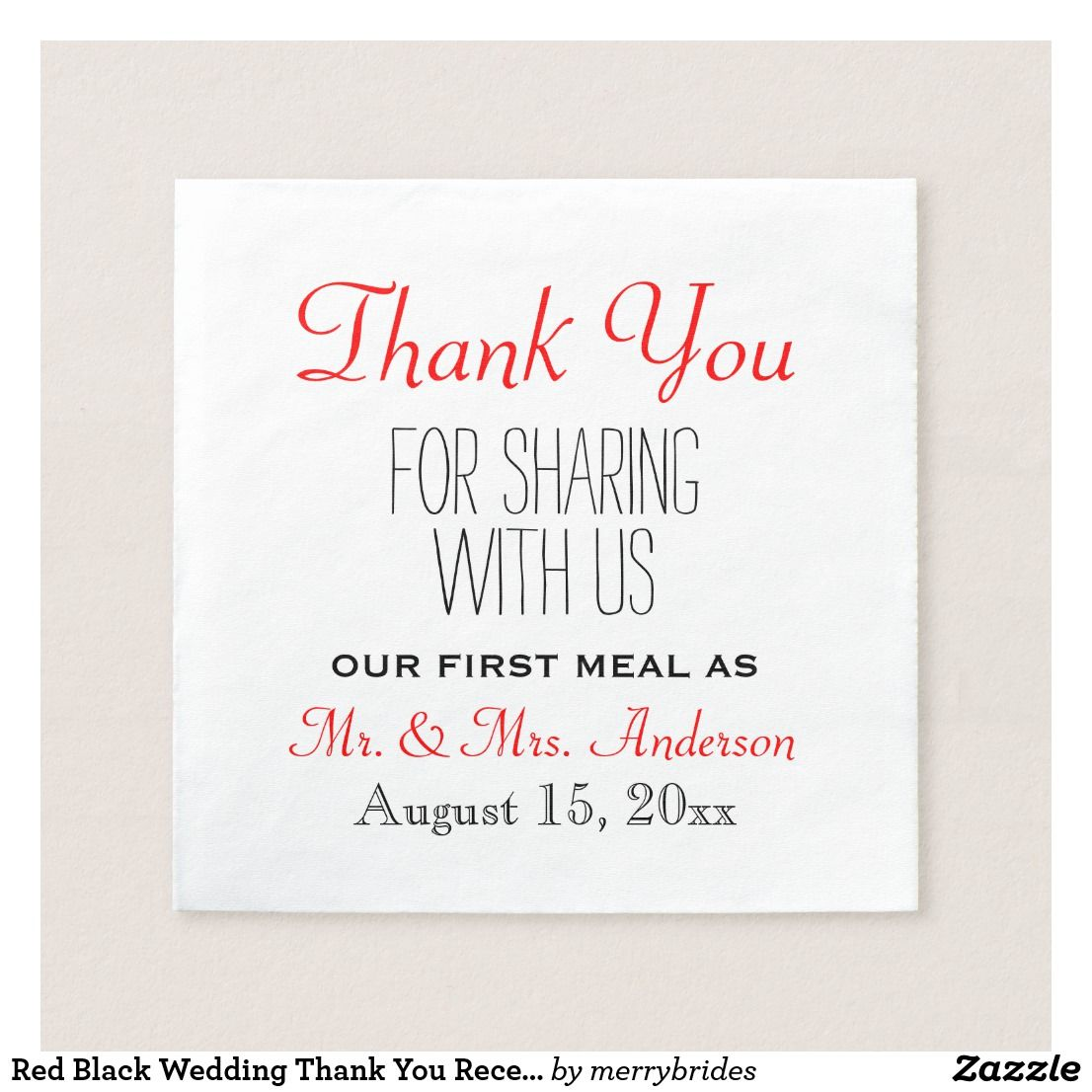 Red Black Wedding Thank You Reception Typography Paper Napkin ...