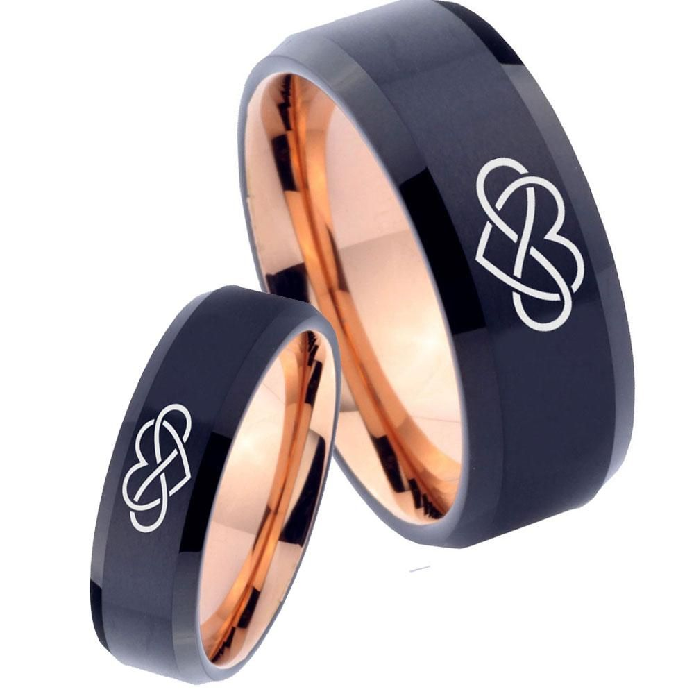 8MM Beveled Edges Brush Black Tungsten Band Tungsten Wedding Band Rose Gold Infinity Tungsten Ring Mens Ring Promise Ring for Him