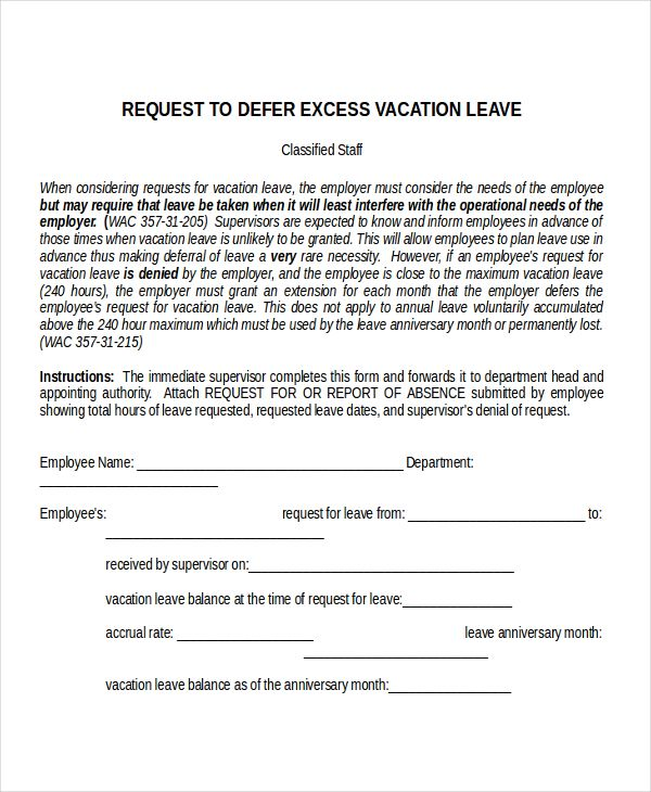 letter format annual leave vacation announcing bad news employees - holiday leave form template
