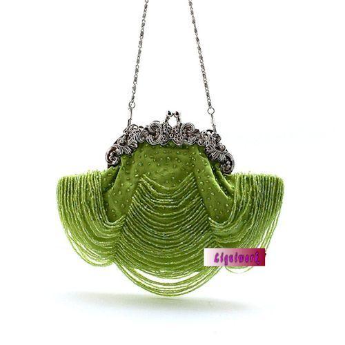 Handmade Women Green Beaded Wedding Bridal Evening Ball Clutch Purses SKU-1110154