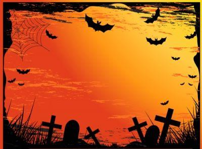 halloween cemetery scene