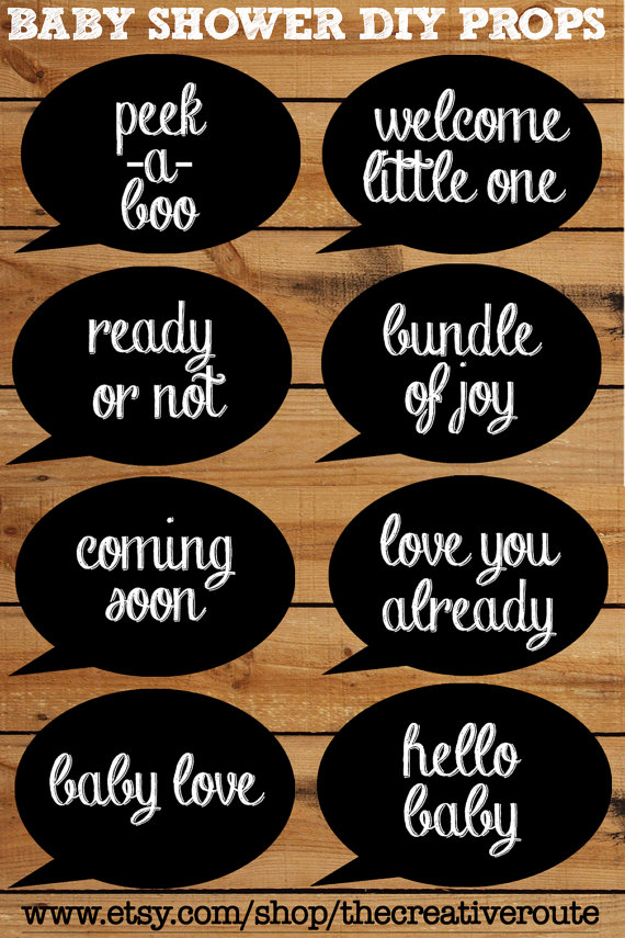Baby Shower Photobooth Props Chalkboard Printable 8 Page Pdf With